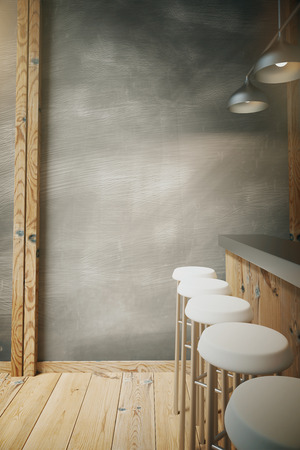 Modern wooden bar interior from the side, with chairs and lamps. 3D Render