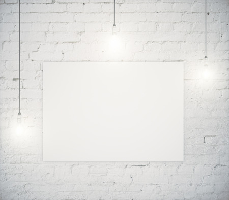 Blank poster hanging on a white brick wall with three light bulbs. Mock up, 3D Render