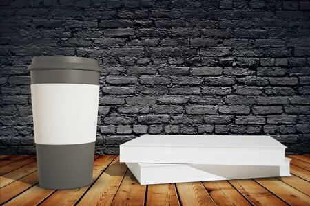 books on a wooden surface: Black coffee cup with white holder and books on wooden surface on black brick background. Mock up, 3D Render Stock Photo