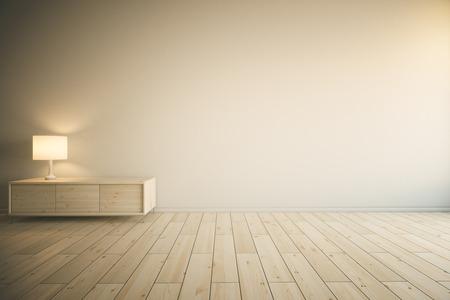 Intérieur de la chambre avec vide mur peint, lumière armoire à tiroirs en bois avec lampe et parquet. Maquette, 3D Redner Banque d'images - 54116849
