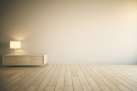 Interior del sitio con la pared pintada vacío, armario de cajones de madera clara con la lámpara y parquet. Maqueta, Redner 3D