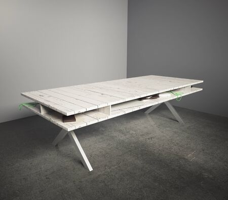 gray background: Light wooden table in an empty grey room. 3D Render Stock Photo