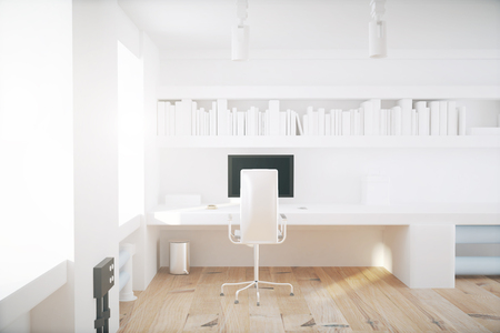 empty office: White office interior with wooden floor. 3D Render Stock Photo