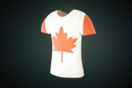 continente americano: T-shirt with a Canadian flag print isolated on a dark background. Sideview. 3D Render Foto de archivo
