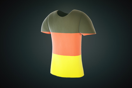 sideview: T-shirt with a German flag print isolated on a dark background. Sideview. 3D Render Stock Photo