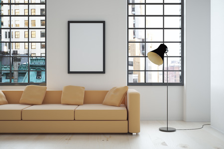 Interior design with beige sofa, blank picture frame, lamp and windows with city view. Mock up, 3D Render