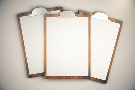 backing up: Top view of three blanks on light desktop. Mock up, 3D Render Stock Photo