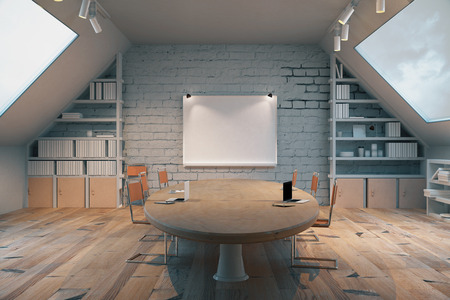 Dark wooden conference room with table, chairs, windows on both sides and a small board on the wall. 3D Render