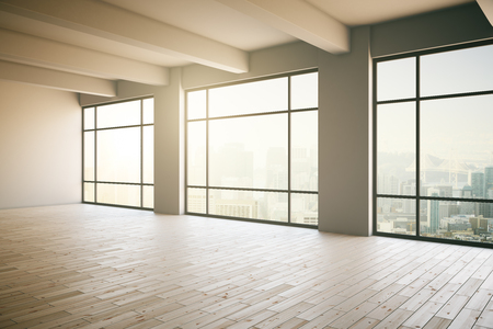 Empty light  loft interior with wooden floor, three panoramic windows and sunlight. 3D Render