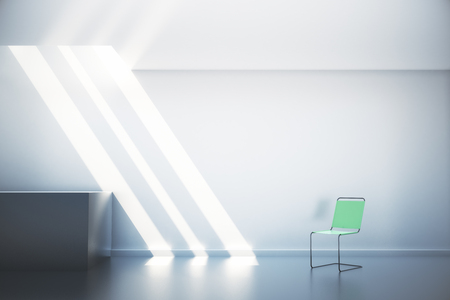 White interior with empty wall, green chair and sunlight. Mock up, 3D Render