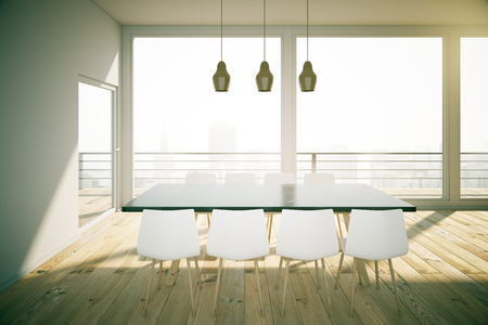 dining table and chairs: Black dining table with white chairs in wooden loft interior design room with white walls and city view. 3D Render