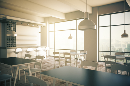 Furnished cafe interior with two panoramic windows. 3D Render