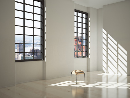 daylight: Sunlit interior design with a stool and big windows with city view. 3D Render Stock Photo