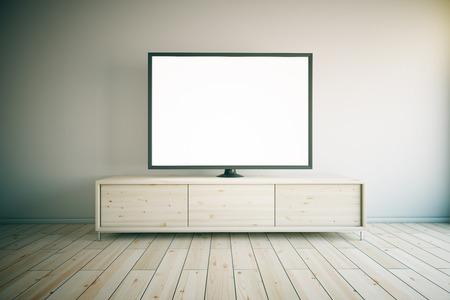 la luz del gabinete de televisión de madera con la televisión en blanco en blanco en la habitación entre otras. Maqueta, 3d Foto de archivo