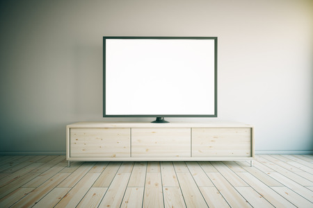 Light wooden TV cabinet with blank white TV in room interior. Mock up, 3D Render