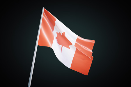 black flag: Waving Canadian flag isolated on a black  background. 3D Render