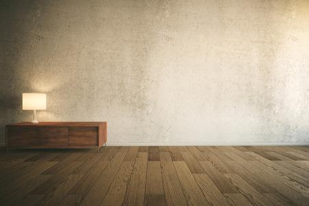 Interior de la sala con muro de hormigón vacío, armario de cajones de madera con lámpara y parquet. Maqueta, Redner 3D Foto de archivo