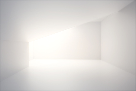 Empty interior design with blank white concrete wall and sunlight. Mock up, 3D Render Stock Photo