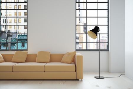 Design d'intérieur avec canapé beige, mur blanc, lampe et fenêtres avec vue sur la ville. Maquette, 3D Render