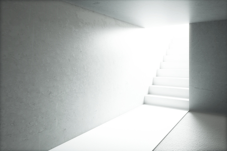 Sunlit concrete room with blank walls and staircase. Mock up, 3D Render Stock Photo