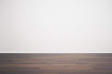 unfurnished: Empty white wall in unfurnished room with wooden floor. Mock up, 3D Render Stock Photo