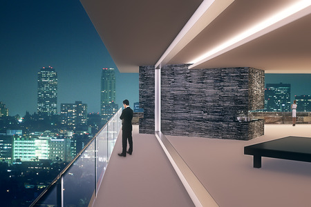 Interior design with businesspeople and panoramic night city view. 3D Render
