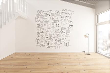 Binnenhuisarchitectuur met bedrijfsconcept op betonnen muur en houten vloer. 3D Render