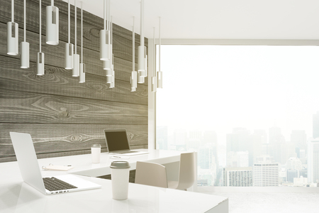wooden window: Studio design with wooden planks, white desktop and panoramic window. 3D Render Stock Photo
