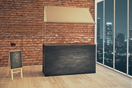 Empty food stand and menu board in shop interior at night. Mock up, 3D Render Stock Photo