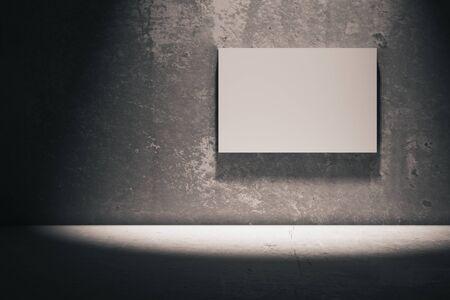 canvas: Blank whiteboard in dark concrete room. Mock up, 3D Render