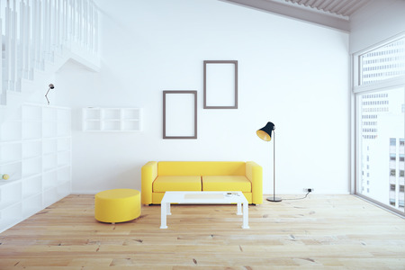 yellow walls: Living room interior design with yellow sofa, blank picture frames, shelves and white walls. 3D Render