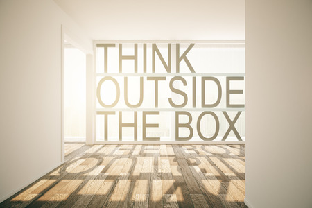 to think: Thinking outside the box concept in sunlit room interior. 3D Render