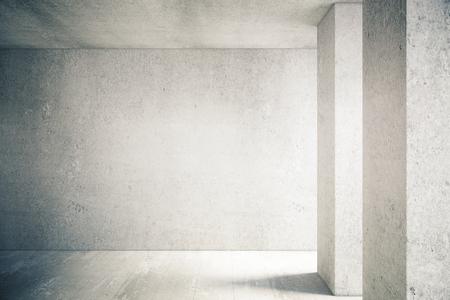 Hormigón: iluminada por el sol interior con muro de hormigón blanco y el piso. Bosquejo