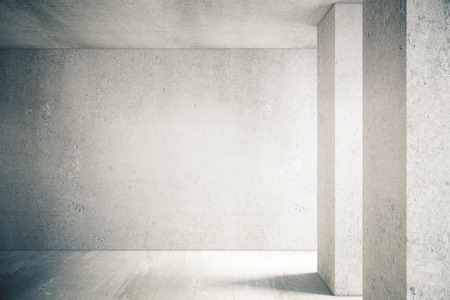concrete room: Sunlit interior with blank concrete wall and floor. Mock up Stock Photo