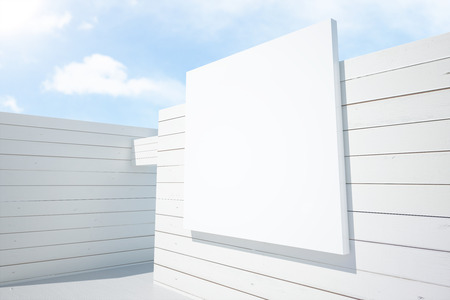 architectural exterior: Abstract architectural exterior with white billboard. Mock up, 3D Render