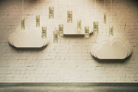 wealth concept: Wealth concept with abstract money rain in room with white brick wall Stock Photo