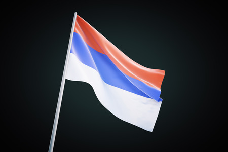 serbian: Waving serbian flag isolated on a black background. 3D Render Stock Photo