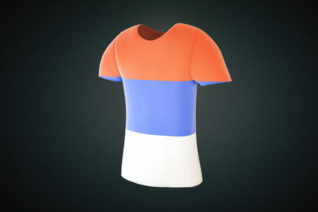 sideview: T-shirt with a Serbian flag print isolated on a dark background. Sideview, 3D Render Stock Photo