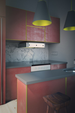 sideview: Sideview of modern red kitchen interior design with two lamps and wooden chair. 3D Render