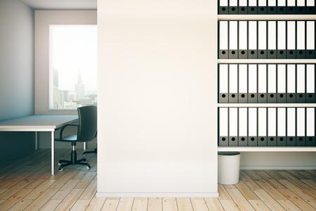 Zwei leere wände aus beton interieur mit stuhl und holzboden. mock