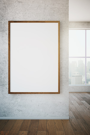 Blank picture frame in room with wooden floor and window with view. Mock up, 3D Render Stock Photo