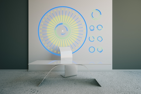 abstruse: Futuristic interior with chair, table and abstruse pattern on dark wall. 3D Rendering
