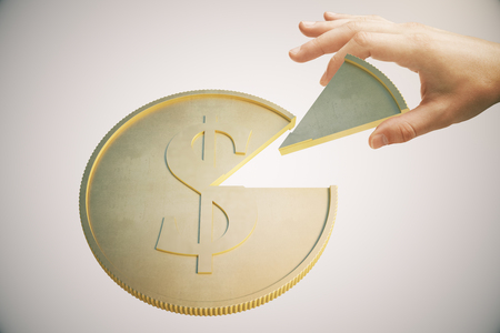 hand with money: Shareholder concept with hand taking piece of dollar coin on light background. 3D Rendering