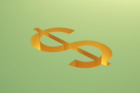 making hole: Financial risk concept with dollar sign pit on green background. 3D Rendering