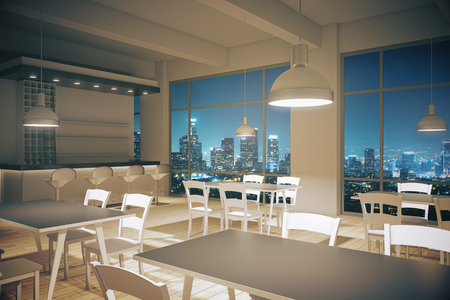 furnished: Furnished cafe interior with light wooden floor and night city view. 3D Render