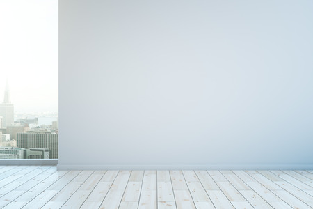 Blank wall in interior with white wooden floor and city view. Mock up, 3D Rendering