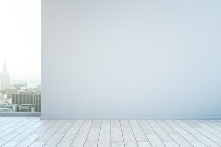 Leere Wand im Innenraum mit weißen Holzboden und Blick auf die Stadt. Mock-up, 3D-Rendering