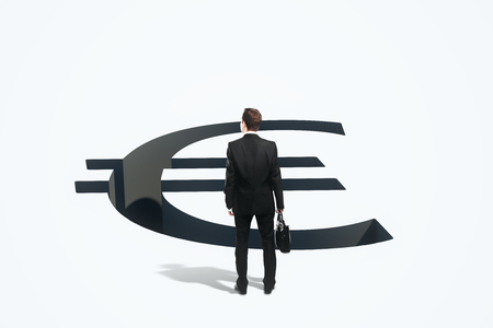 making hole: Financial risk concept with businessman standing in front of euro sign pit. 3D Rendering