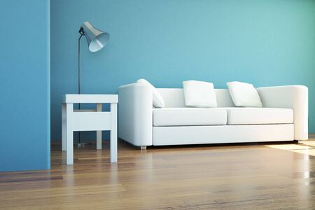 Interior design with blue walls, wooden floor, couch and lamp. 3D Rendering