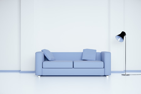 Blue sofa in white room with blank wall and lamp. Mock up, 3D Render Stock Photo